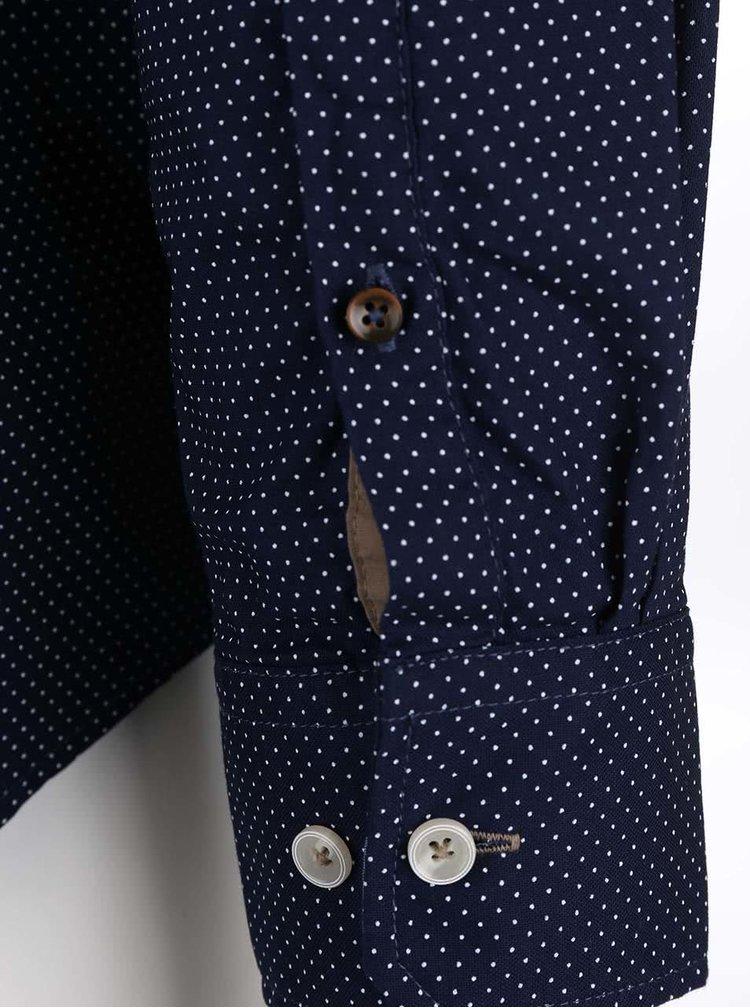 Modrá pánská puntíkovaná košile bugatti