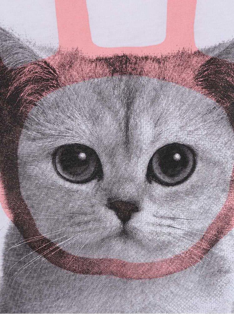 Tricou alb cu print pisica pentru femei -  ZOOT Originál Bunny-Cat