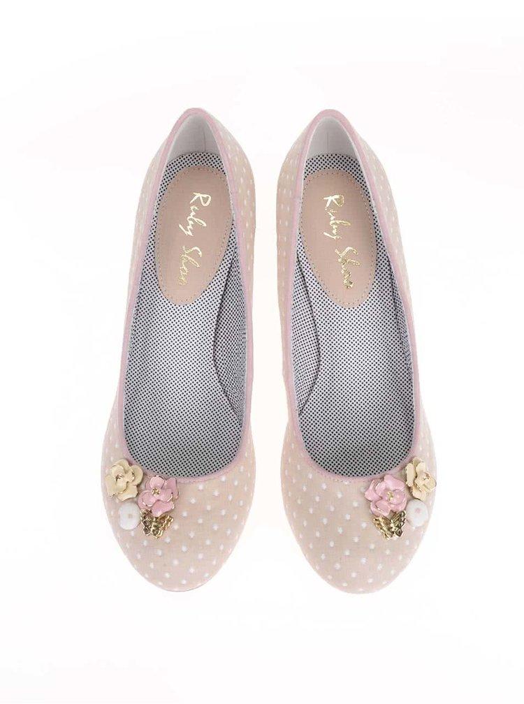 Pantofi Ruby Shoo Carla nude, cu buline