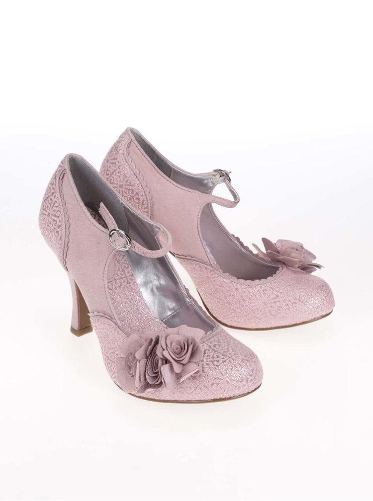 Růžové lodičky s květinou Ruby Shoo Emily