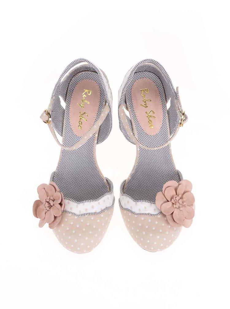 Pantofi Ruby Shoo Heidi nude, cu buline
