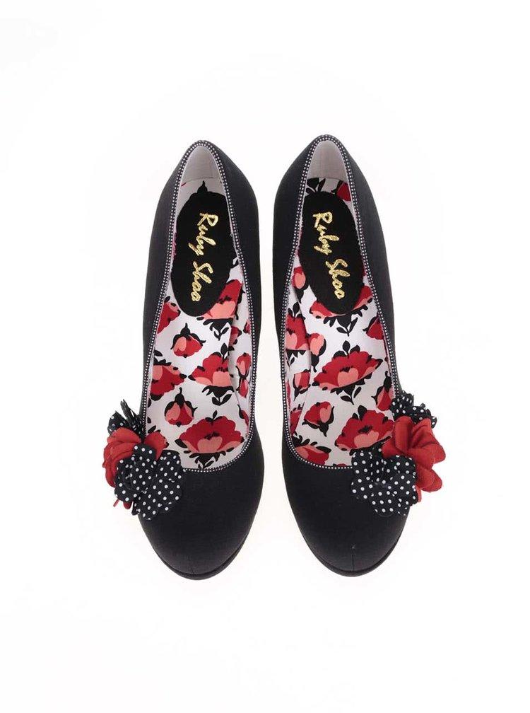 Červeno-černé lodičky s ozdobnými květinami Ruby Shoo Eva