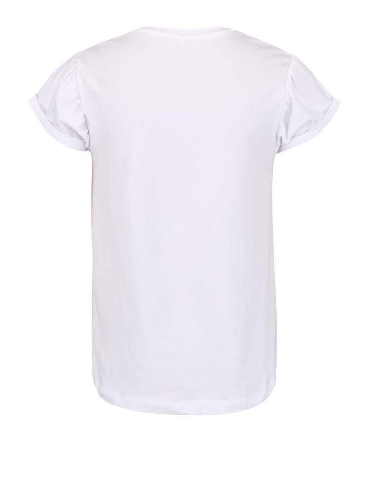 Biele dievčenské tričko s textom name it Glitterish
