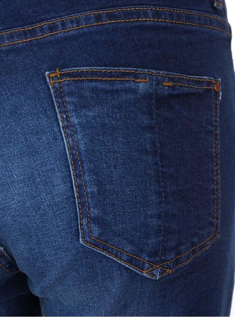 Modré kratší džíny s potrhaným efektem Dorothy Perkins