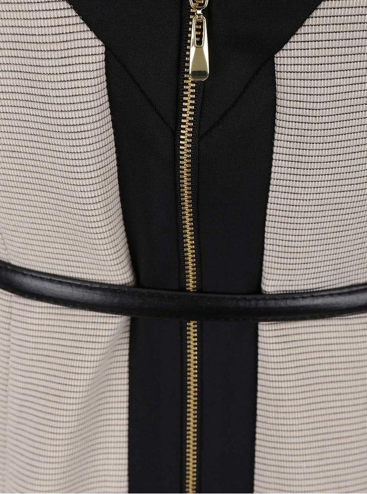 Černo-béžové šaty s páskem Dorothy Perkins