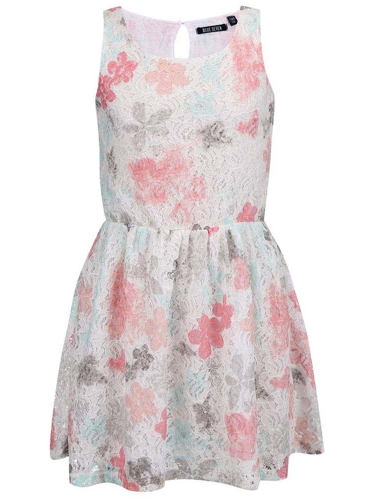 Krémové dievčenské čipkované šaty s farebnými kvetinami Blue Seven