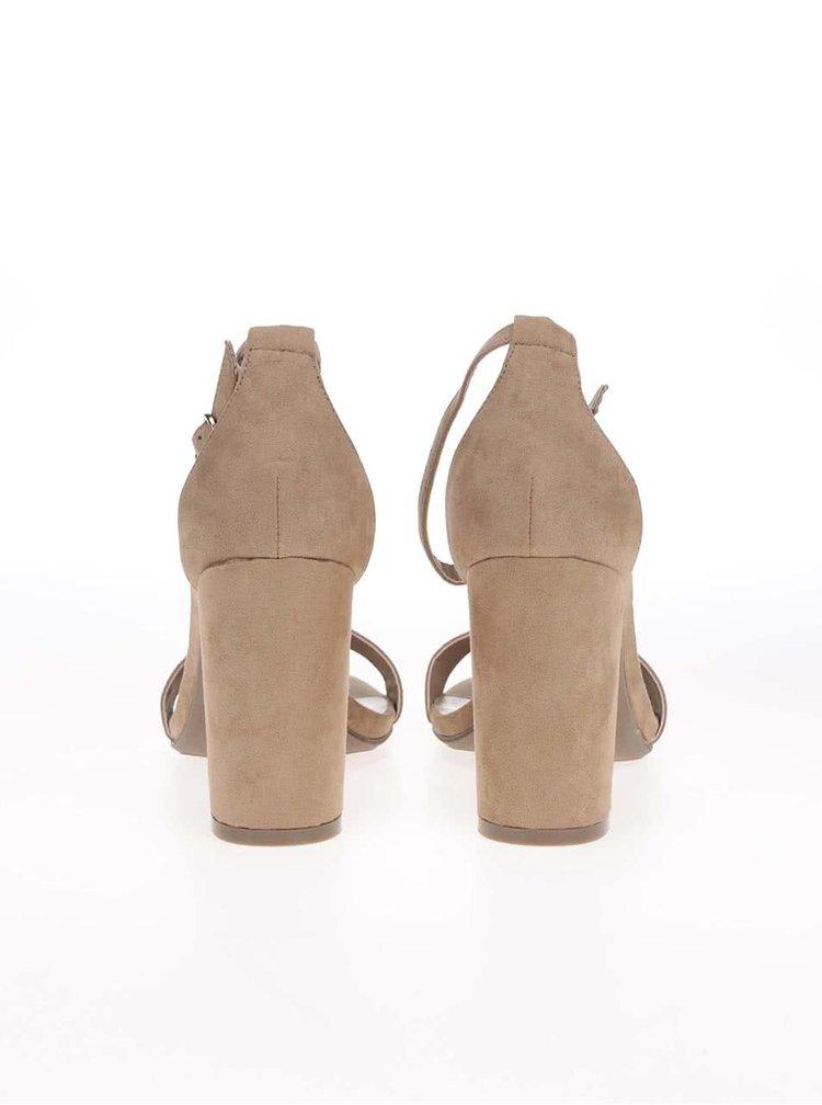 Béžové páskové sandálky na podpatku Dorothy Perkins