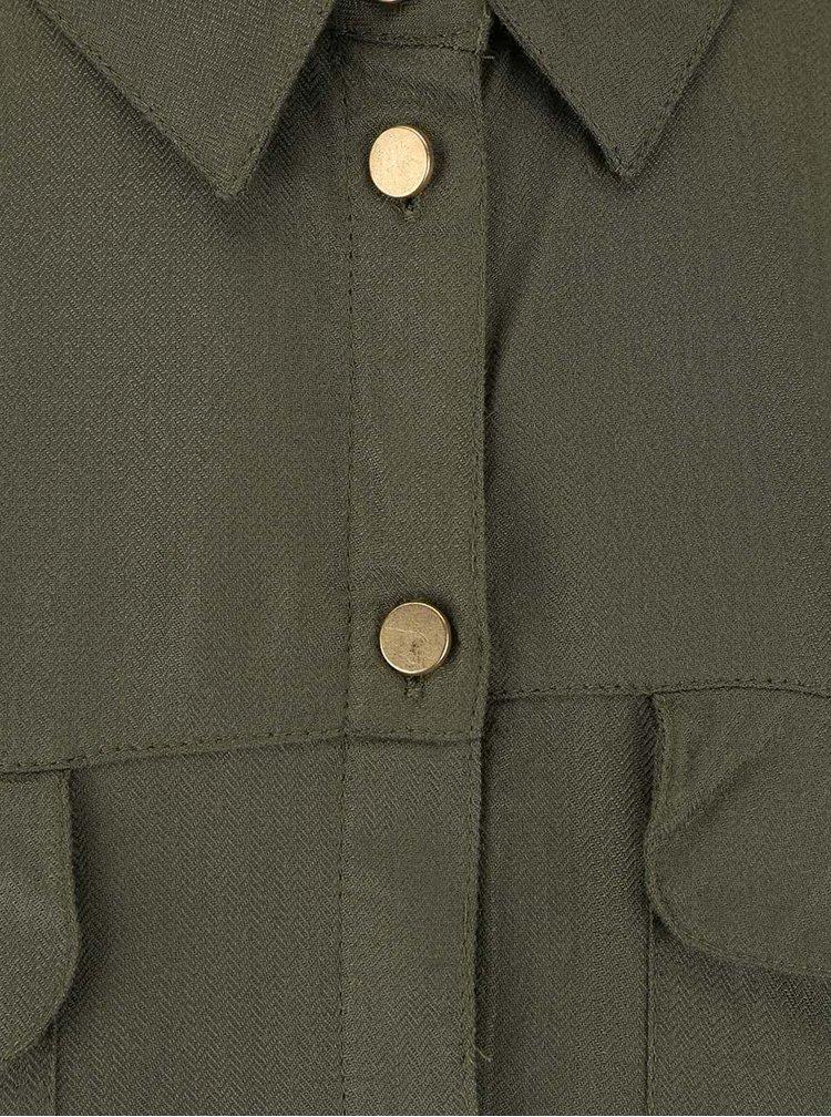 Khaki košile s knoflíčky ve zlaté barvě Dorothy Perkins