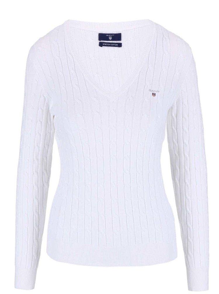 Biely sveter s výstrihom do V GANT