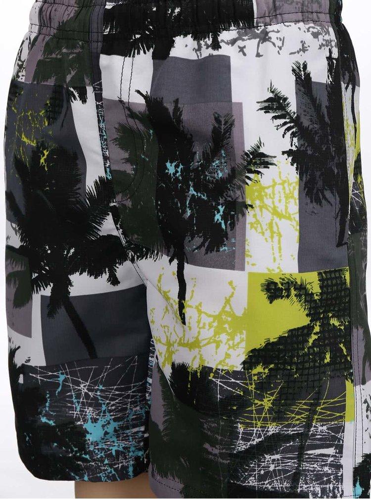 Žluto-šedé klučičí plavky s palmami Blue Seven