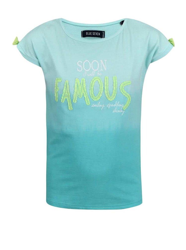 Modré holčičí tričko s potiskem Blue Seven Soon Famous