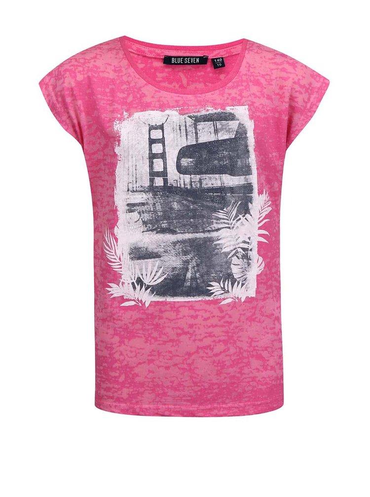 Ružové dievčenské tričko s potlačou Blue Seven