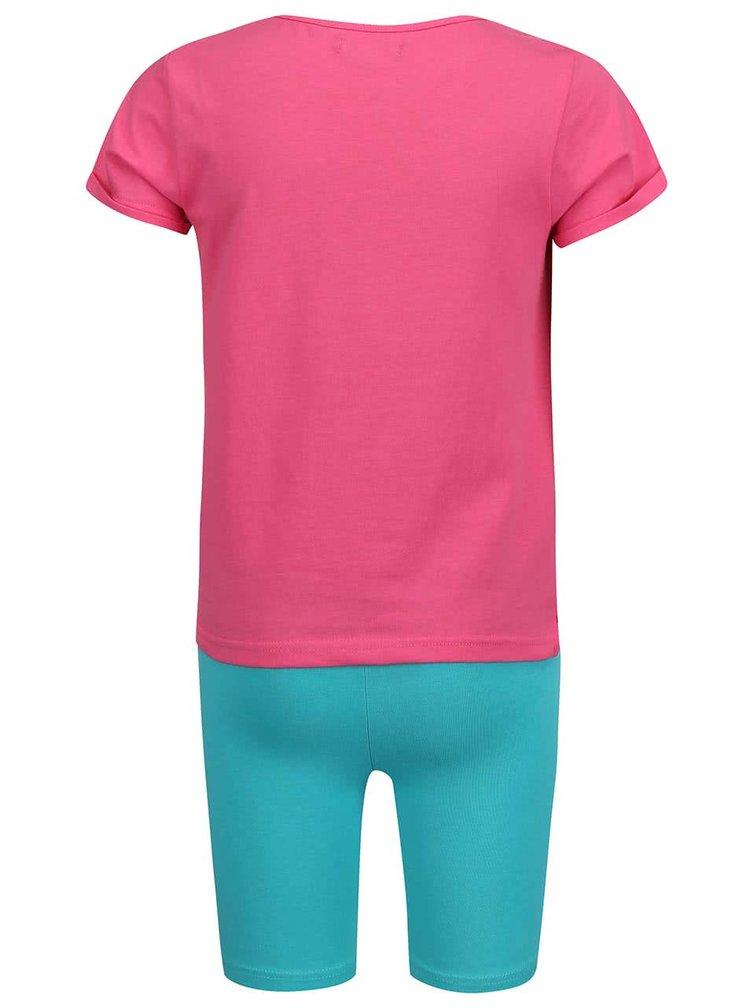 Set ružového dievčenského trička so zelenými šortkami Blue Seven