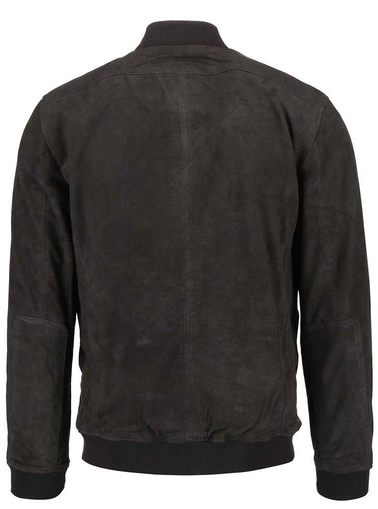 Tmavosivá kožená bunda Jack & Jones Thak