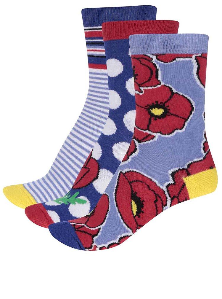 Sada tří červeno-modrých dámských ponožek Oddsocks Sophie