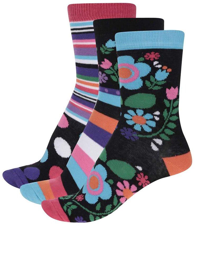 Sada troch dámskych ponožiek s kvetmi a pruhmi Oddsocks Izzy