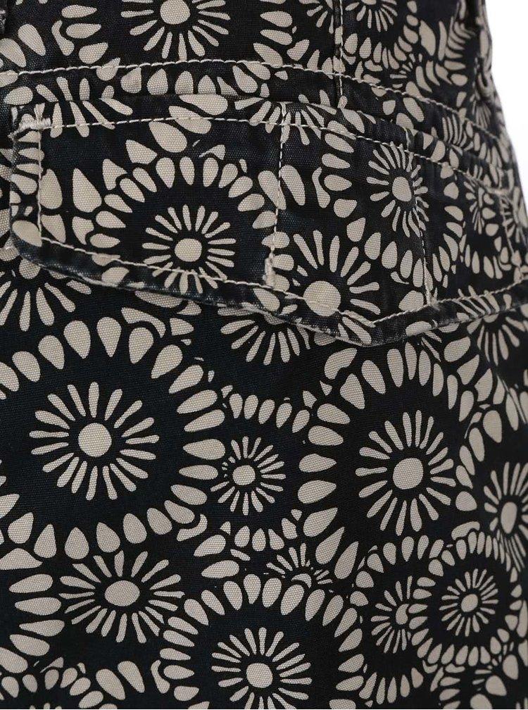 Čierno-krémové vzorované kraťasy s vreckami Jack & Jones Gary