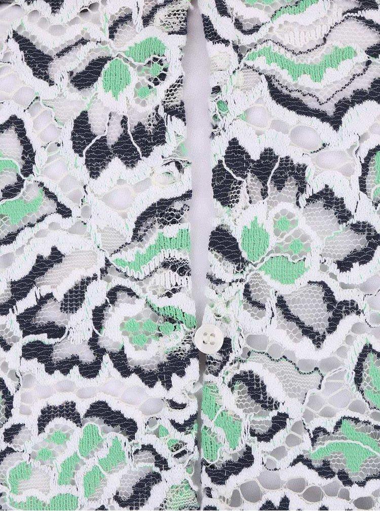 Rochie alb cu verde din datelă French Connection Boccara