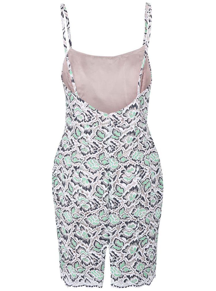 Bílo-zelené krajkové šaty French Connection Boccara