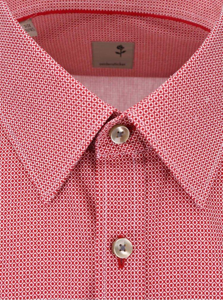 Červená košeľa s drobným vzorom Seidensticker Modern Kent Slim Fit