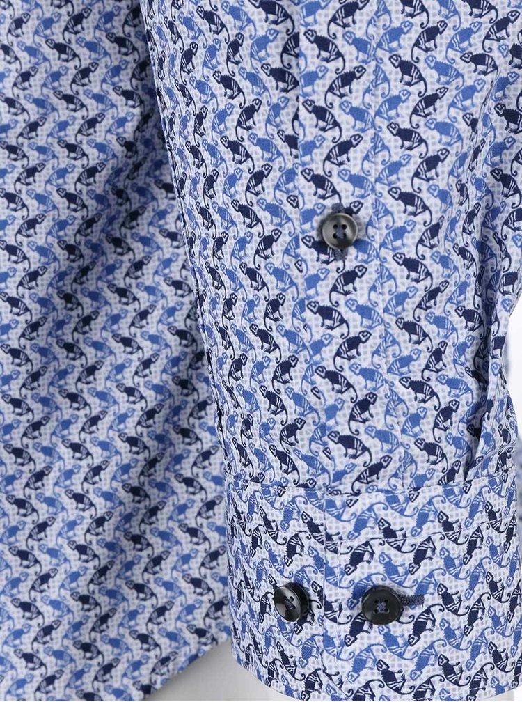 Modrá košeľa s potlačou chameleónov Seidensticker Modern Kent Slim Fit