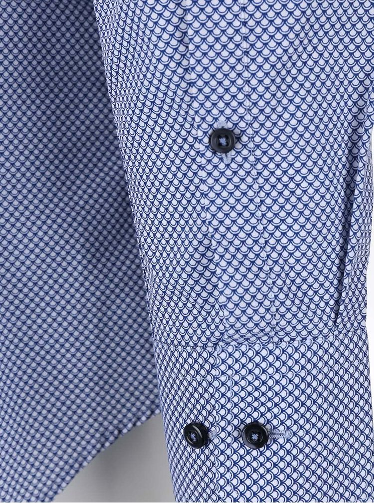 Bielo-modrá vzorovaná košeľa Seidensticker Shark Slim Fit