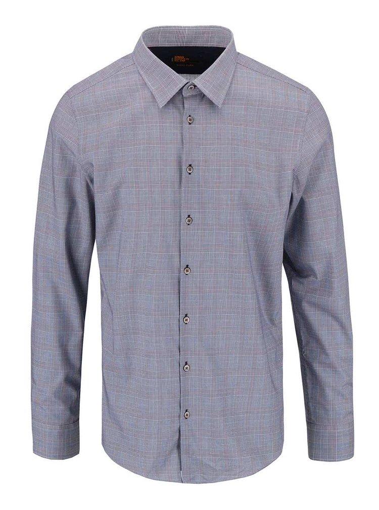 Modrá košeľa so  vzorom Glenček Seidensticker Classis Kent Patch Uno Super Slim