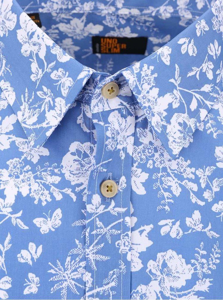 Bielo-modrá kvetovaná košeľa Seidensticker Kent Uno Super Slim