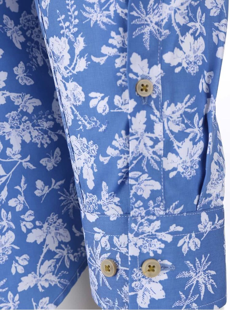 Bílo-modrá květovaná košile Seidensticker Kent Uno Super Slim