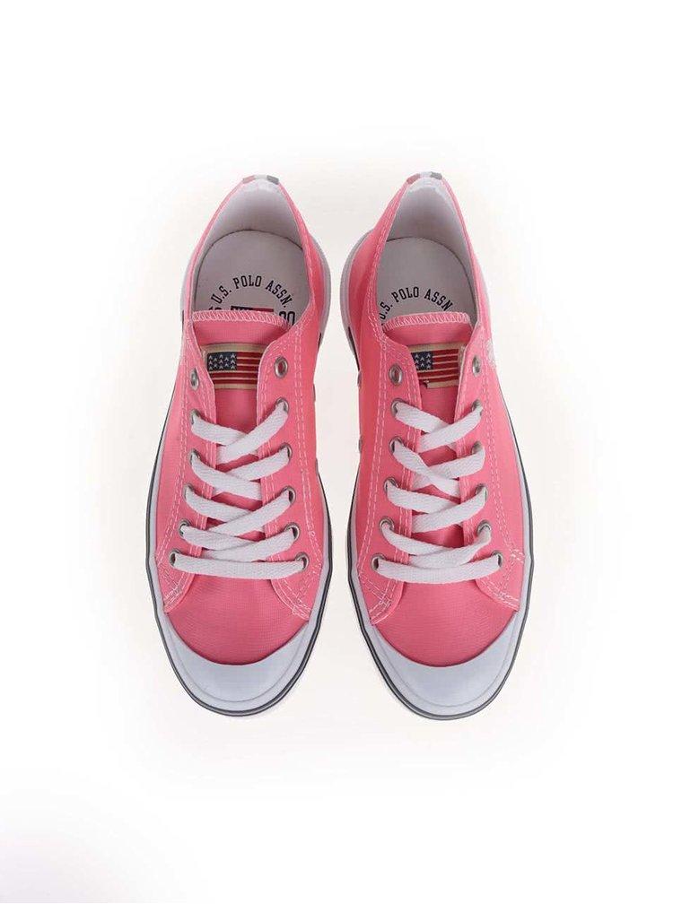 Neónovo ružové dámske tenisky U.S. Polo Assn. Norw Fluo