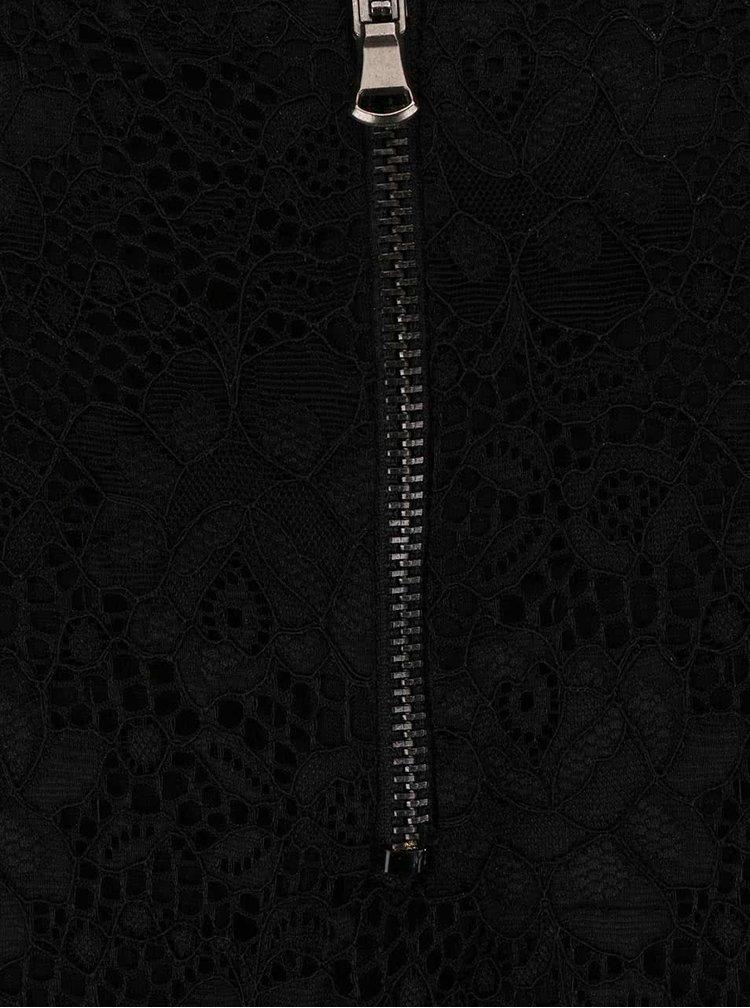 Černé krajkové šaty se vzorovaným límečkem Alchymi Carinae
