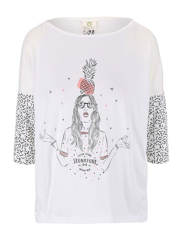 Krémové tričko s potiskem Skunkfunk Lisburn
