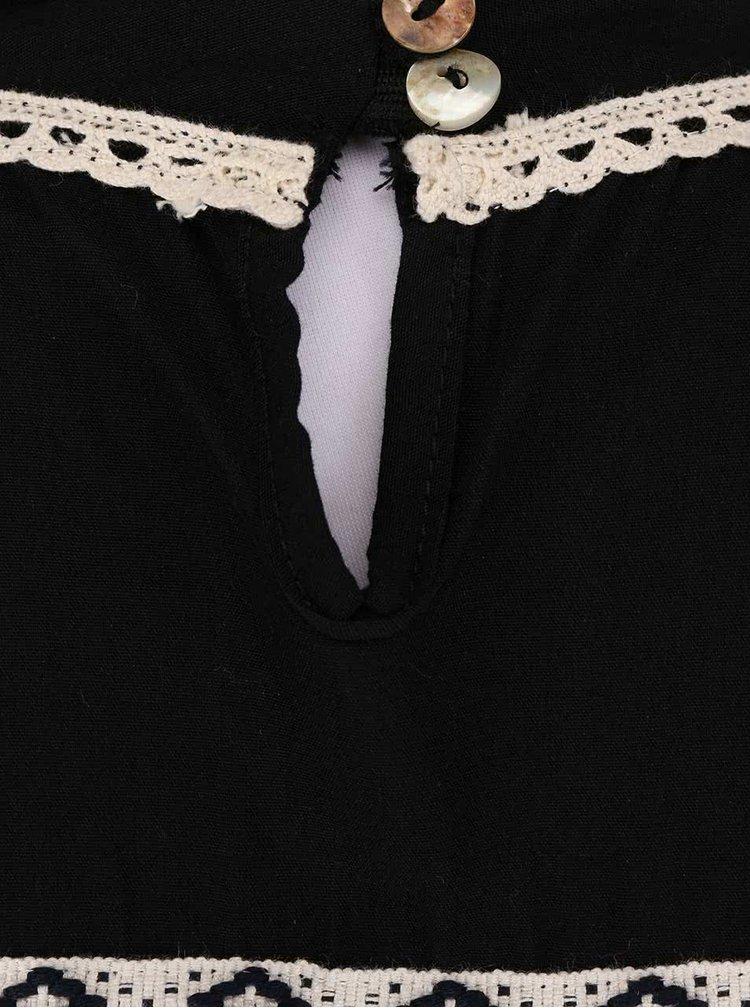 Černá dámská halenka s krémovými detaily Alchymi Tourmaline
