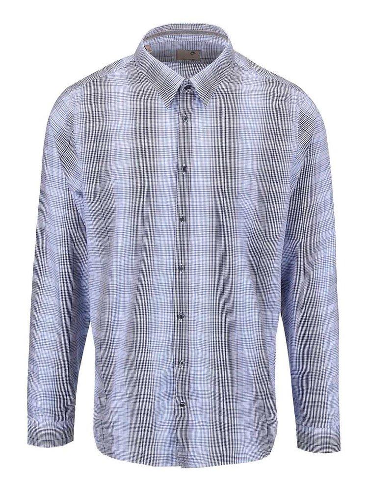 Modrá kostkovaná košile Seidensticker Modern Kent Tape Slim Fit