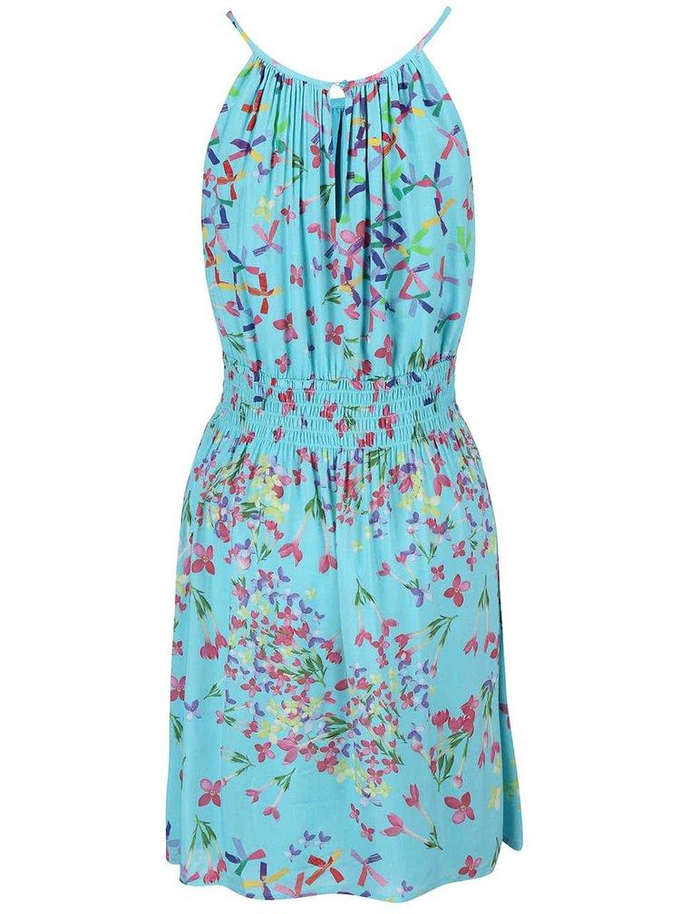 Modré šaty s barevným potiskem Lavand