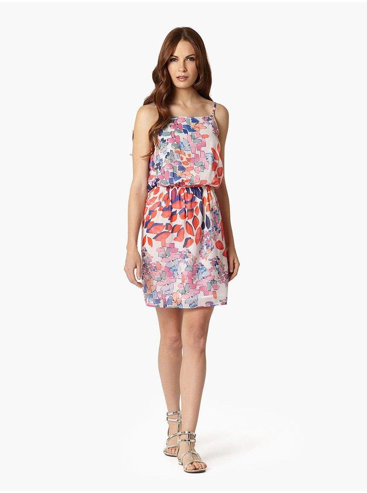 Bílé šaty s barevným potiskem Lavand