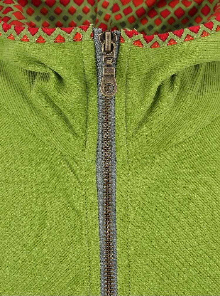 Zelená menčestrová dlhšia bunda Tranquillo Gael