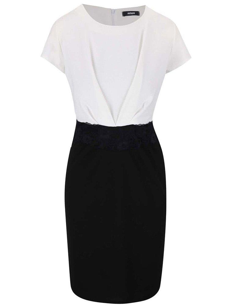 Černo-bílé šaty s krátkým rukávem Alchymi Snowflake Obsidian