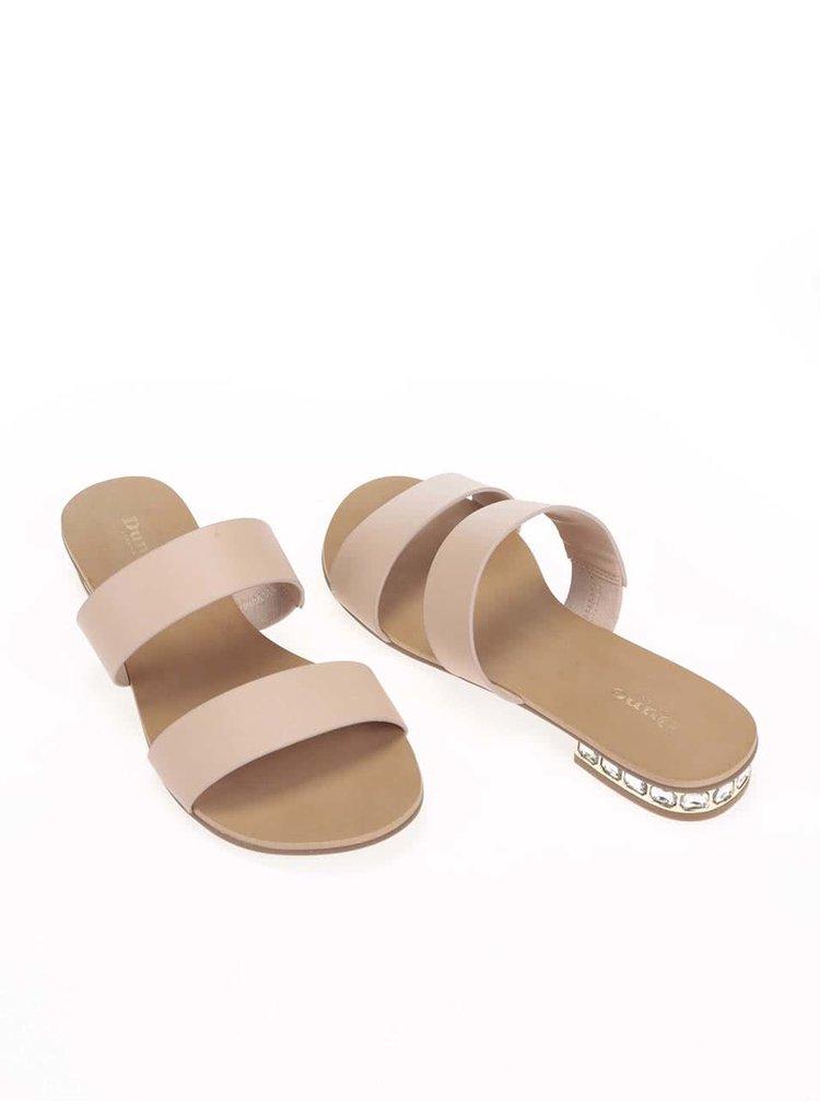 Krémové kožené páskové sandálky Dune London Nesha