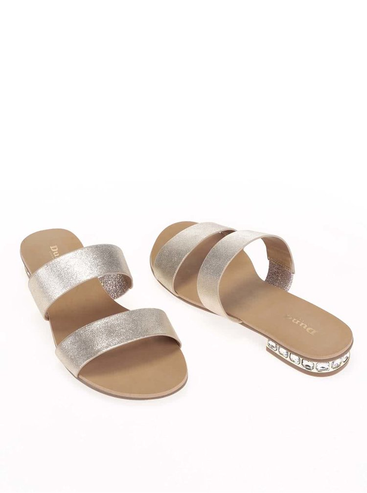 Páskové kožené sandálky ve zlaté barvě Dune London Nesha