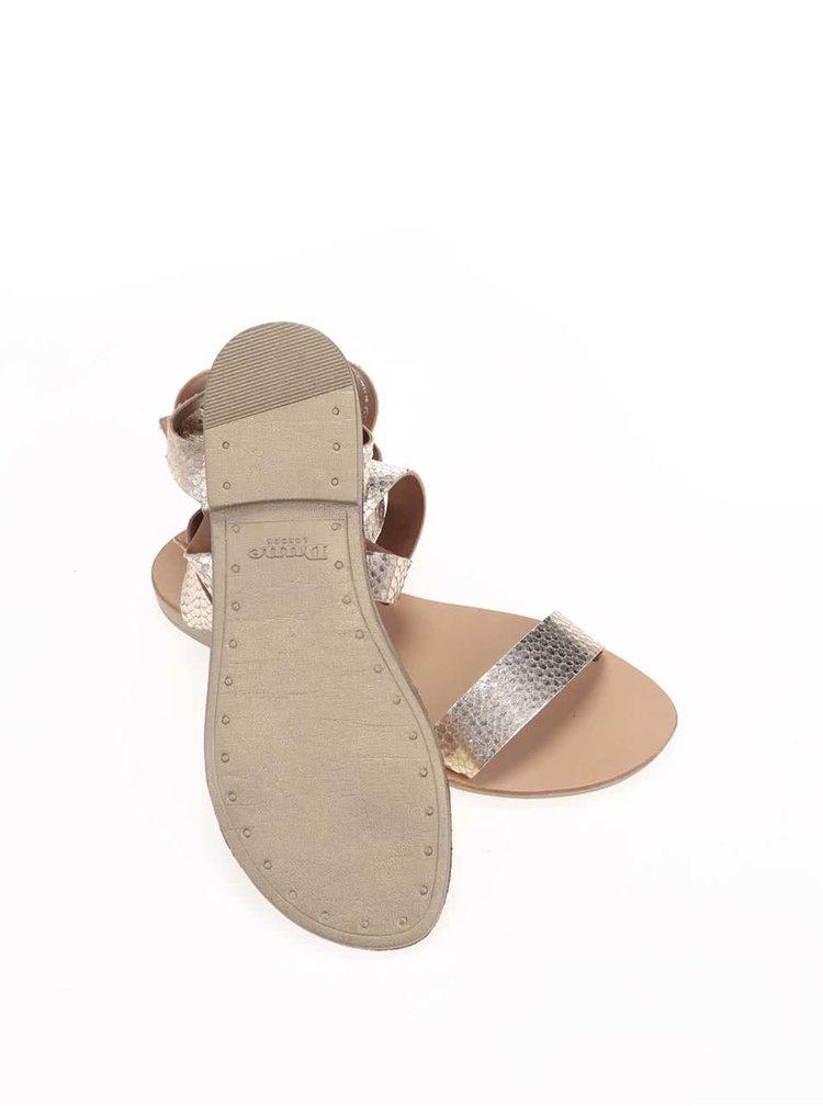 Kožené sandálky ve zlaté barvě Dune London Lotti