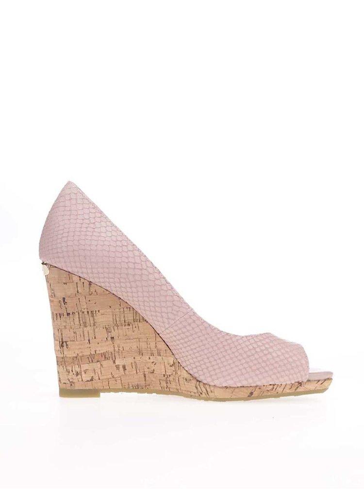 Sandale Dune London Charlotte roz din piele cu platformă