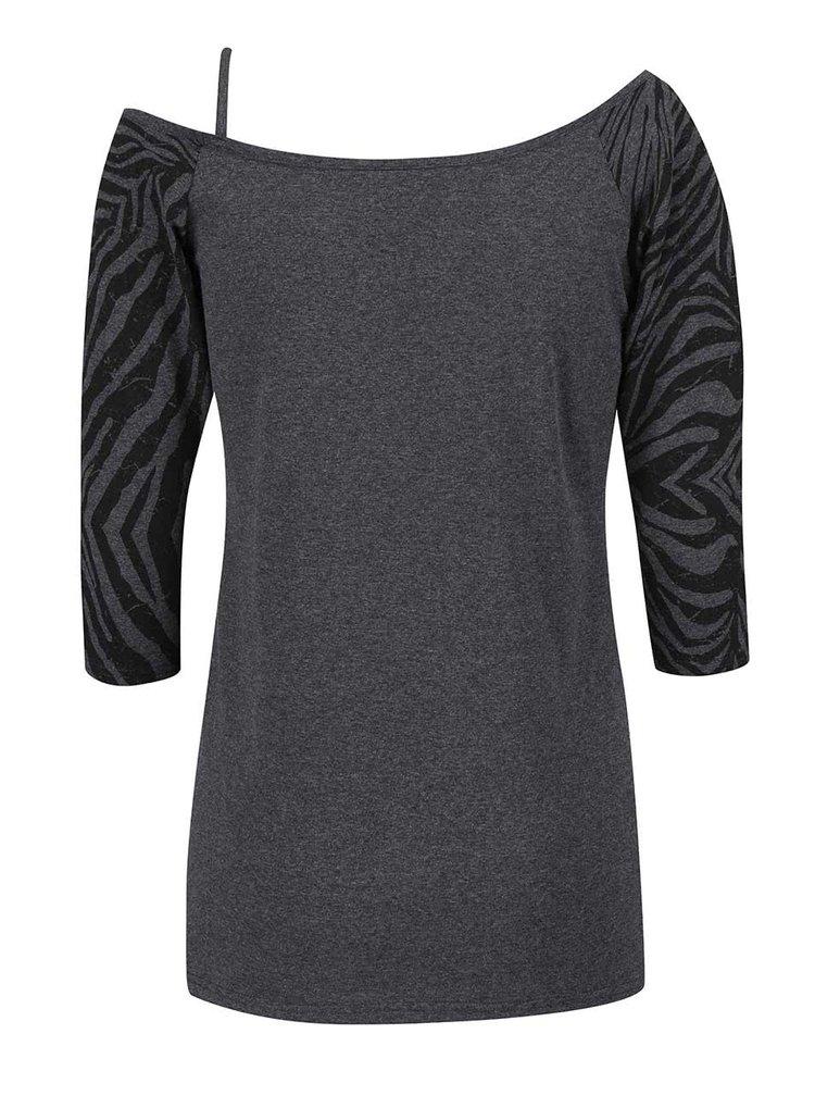 Sivé dámske tričko s čiernymi rukávmi Funstorm Ibule