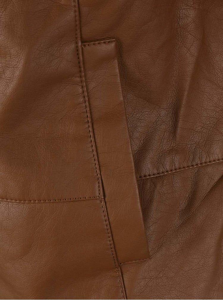 Hnedá koženková bunda VERO MODA Lewa