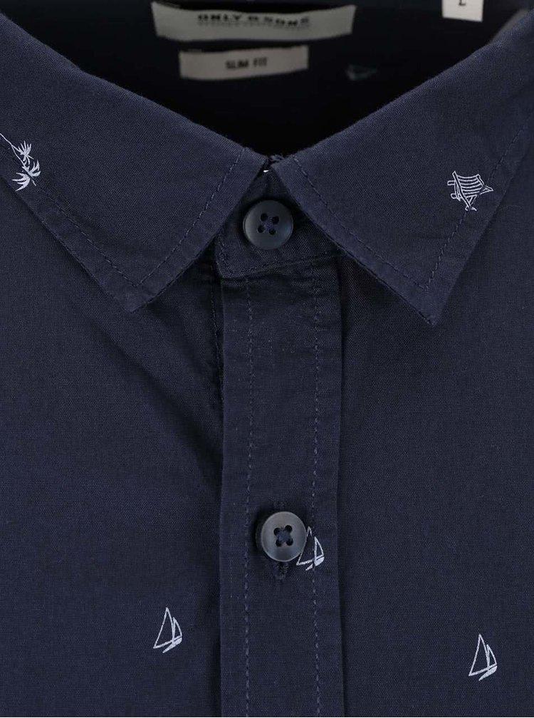 Tmavomodrá košeľa s potlačou ONLY & SONS Harrold