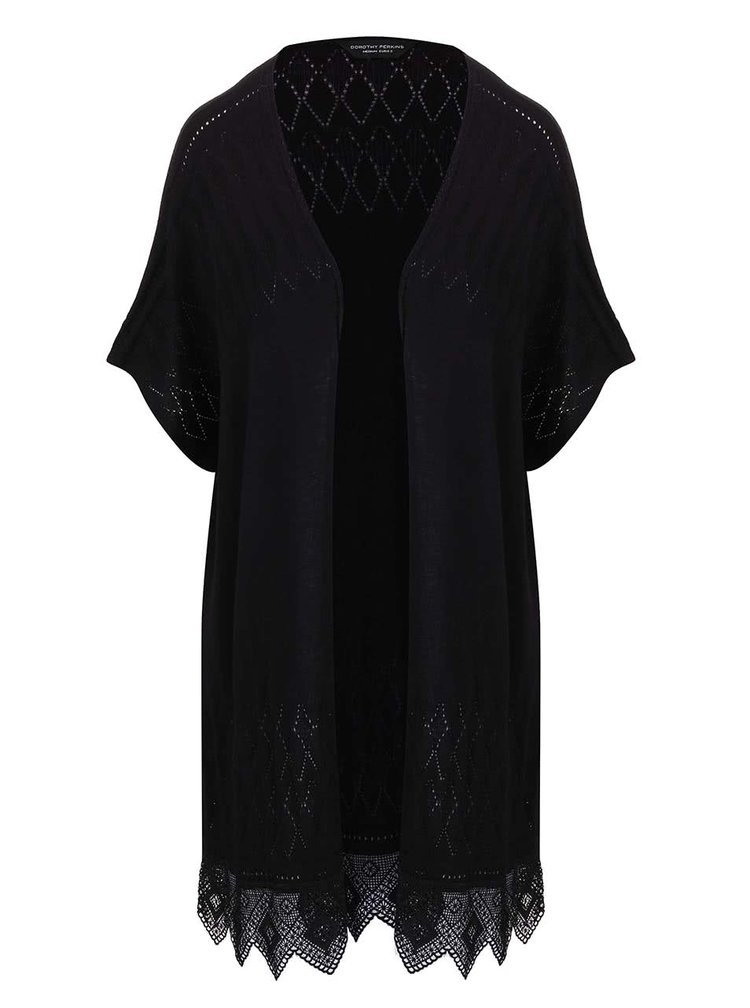 Kimono Dorothy Perkins negru cu dantelă
