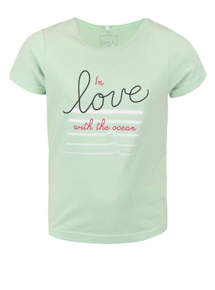Zelené dievčenské tričko s nápisom name it Vix