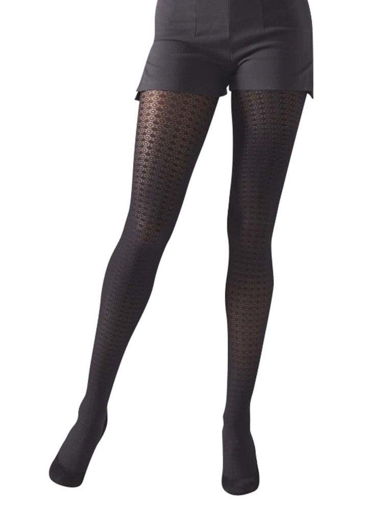 Černé strukturované punčochové kalhoty Gipsy