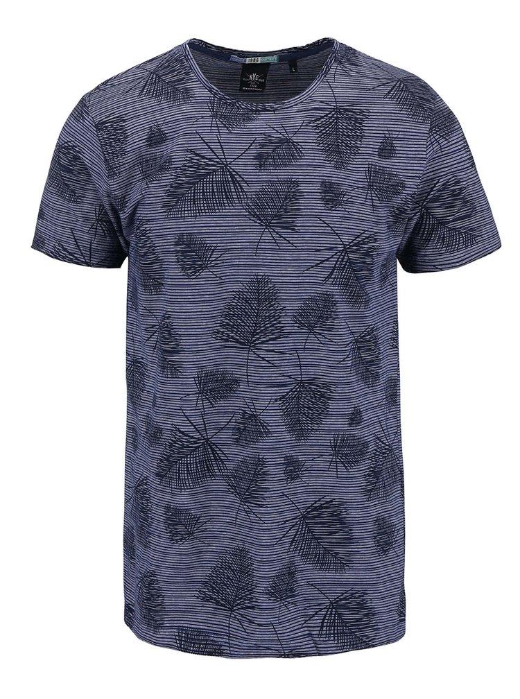 Tmavomodré pánske vzorované tričko Broadway Ewen