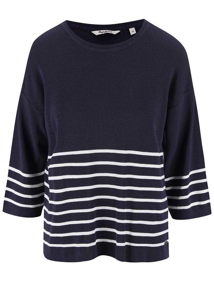 Tmavě fialový tenký svetr s bílými pruhy Pepe Jeans Lloyce
